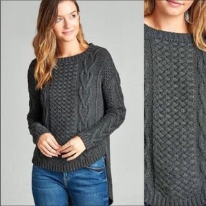 Active USA - Grey Cable Knit - HiLo Knit Sweater